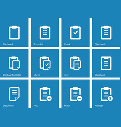 Clipboard icons on blue background vector image