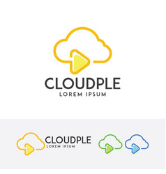 Cloud play logo design vector