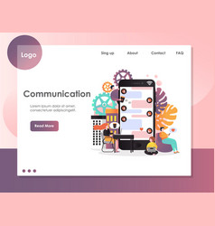 communication website landing page design vector image