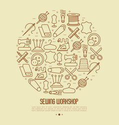 concept for sewing workshop vector image vector image