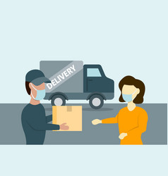 courier brought parcel to woman in face mask vector image