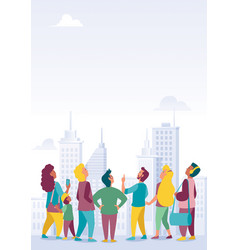 crowd with city background vector image
