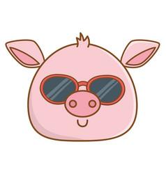 cute animal face cartoon vector image