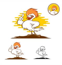 cute chicken mascot logo vector image