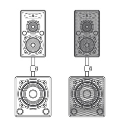 dark contour loudspeakers on subwoofers technical vector image