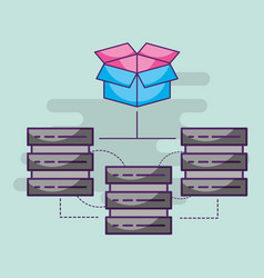 data server center hosting connection storage vector image