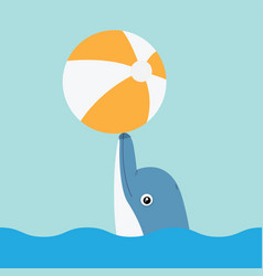 Dolphin playing with ball vector