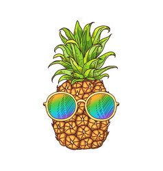 Doodle pineapple or ananas fruit icon in vector