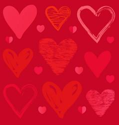 doodle sketch heart pattern on pink background vector image