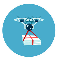drone delivery icon web button on round blue vector image
