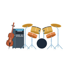 Drums set and cello instruments design vector