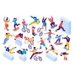 Extreme city sport isometric set vector