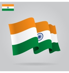 Flat and waving Indian Flag vector image