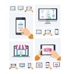 Flat design online shop website on various devices vector
