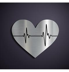 Flat metallic logo heart vector image