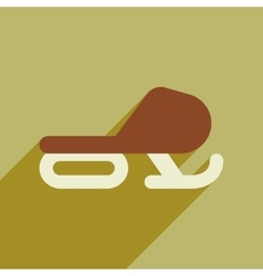 Flat web icon with long shadow snowmobile vector