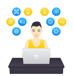 Freelancer working young cheerful girl at work vector