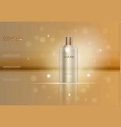 Graceful hair shampoo ads template golden glass b vector