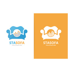 Graph and sofa logo combination diagram vector
