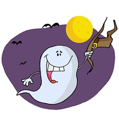 Halloween Ghost Holding His Hat And Flying By Bats vector image