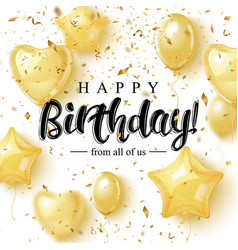 Happy burtday greeting card design with golden vector