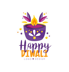 happy diwali logo design template hindu festival vector image