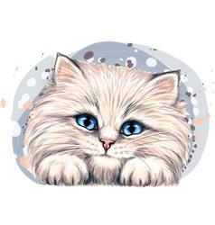 happy fluffy kitten wall sticker vector image