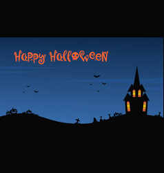 happy halloween night with castle vector image