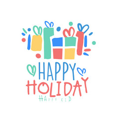 happy holiday happy kid logo template colorful vector image