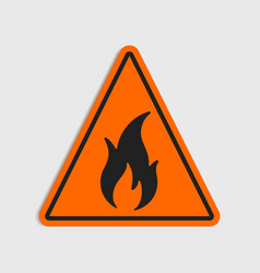 hazard warning sign flammeble fire in vector image