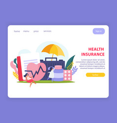 Health insurance page design vector