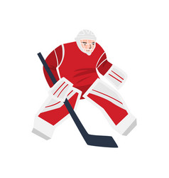 Hockey player in a red uniform with a stick vector