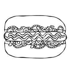 hotdog bun sausage ketchup mustard salad vector image