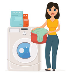 Housewife washes clothes in the washing machine vector