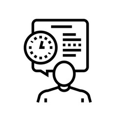 Human talk about task time scheduling line icon vector