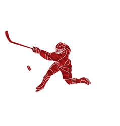Ice hockey sport player cartoon action vector