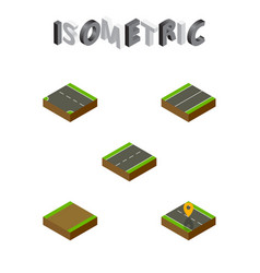 isometric road set of footpath downward plane vector image