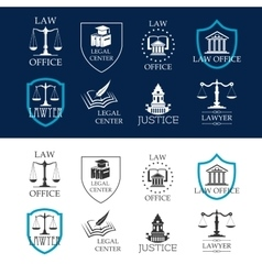 Justice law office and legal center icons vector