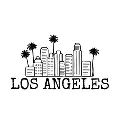 Los angeles city line with palm trees line vector