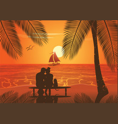 Lovers and a cat on a sunset vector