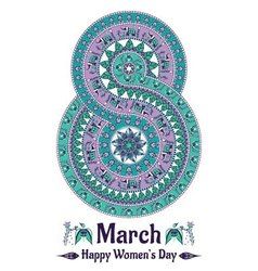 Mandala in the form of number for womens day vector image