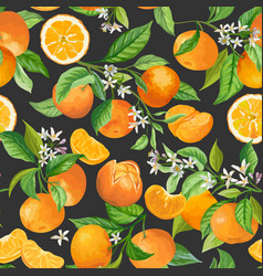 mandarin floral pattern seamless fruit vector image