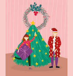 merry christmas man and girl with gift tree room vector image