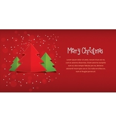 Merry Christmas red horizontal postcard vector image