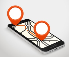 Modern smartphone with abstract metro map Dark vector