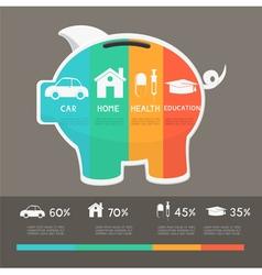 Money saving planning infographics template vector image