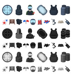 paintball team game cartoon icons in set vector image