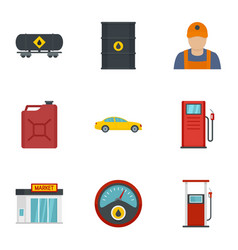 Petrol industry icon set flat style vector