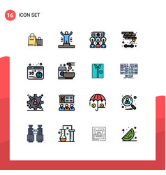 Pictograph set 16 simple flat color filled vector