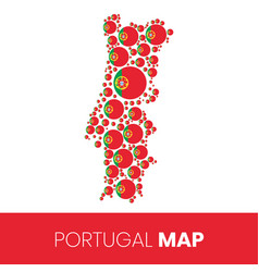 Portugal map filled with flag-shaped circles vector